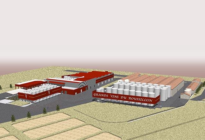Restructuration cave coopérative Arnaud de Villeneuve maquette 3D bureau d'études vinicoles INGEVIN